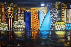 Miasto-nocą-olej-na-płótnie-120x80-2020r