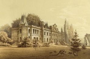 Lata-1870-1880-Palac-w-Brynku-na-XIX-wiecznej-litografii.