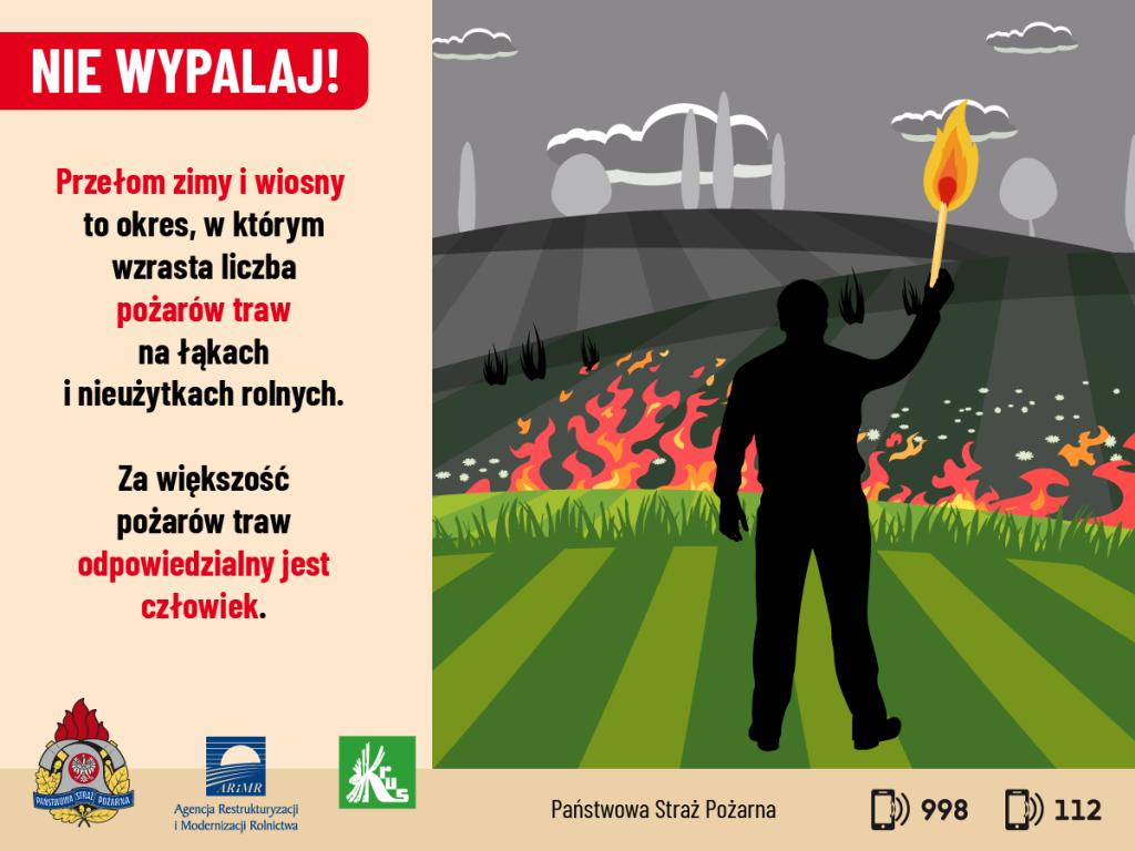 grafika przedstawia mężczyznę podpalającego łąkę