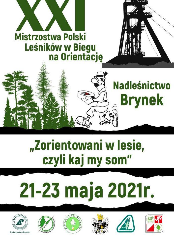 """Plakat Mistrzostwa Polski Leśników w Biegu na orientację """"Zorientowani w lesie, czyli kaj my som"""""""