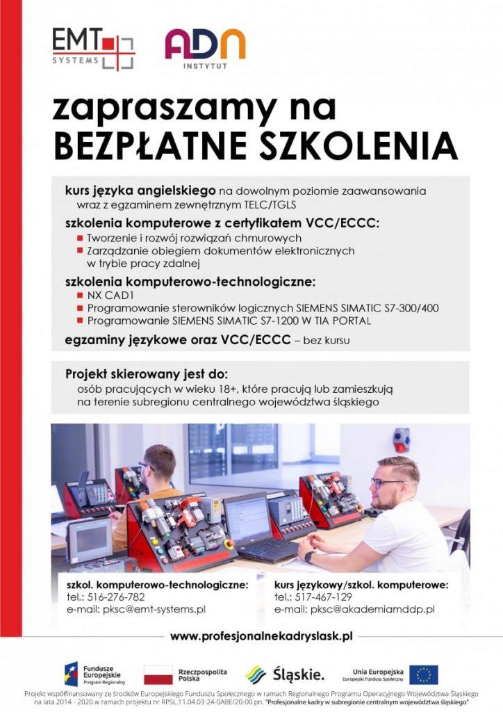 Plakat bezpłatne szkolenia